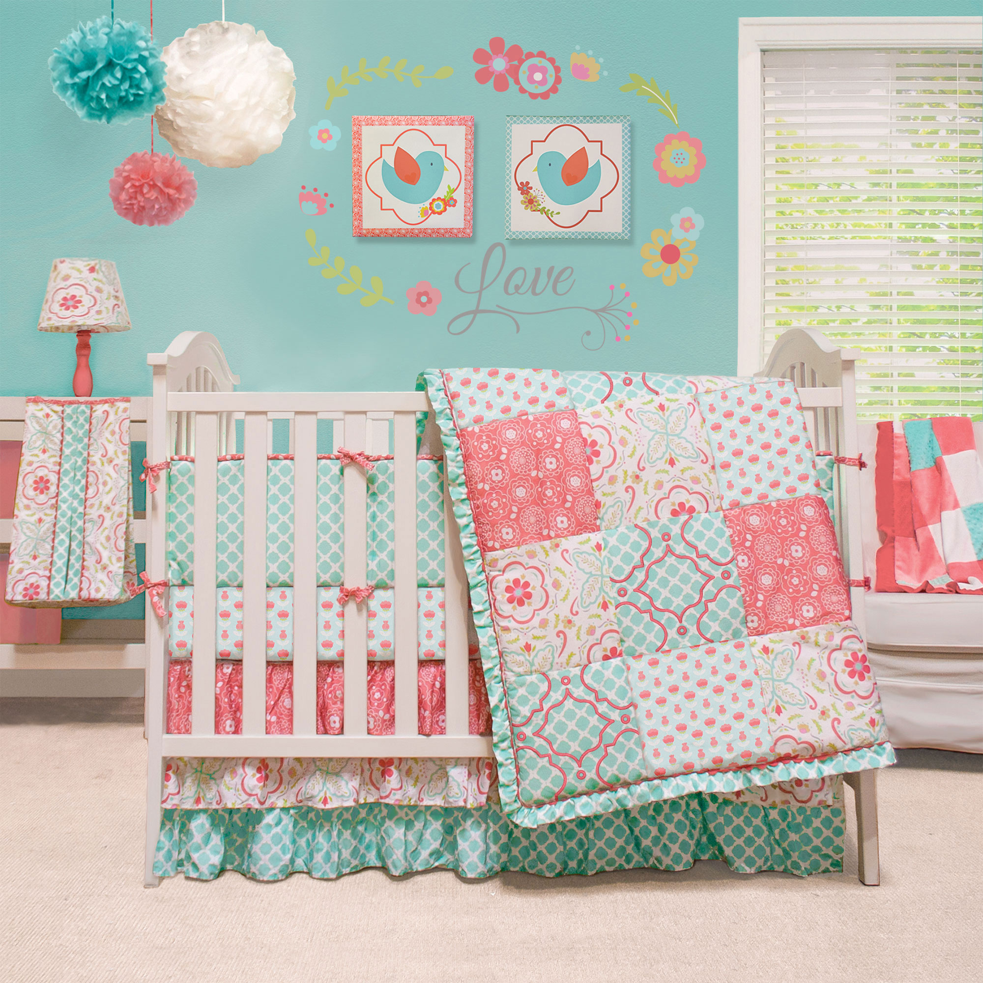 mila coral&blue floral patchwork baby girl crib bedding 4