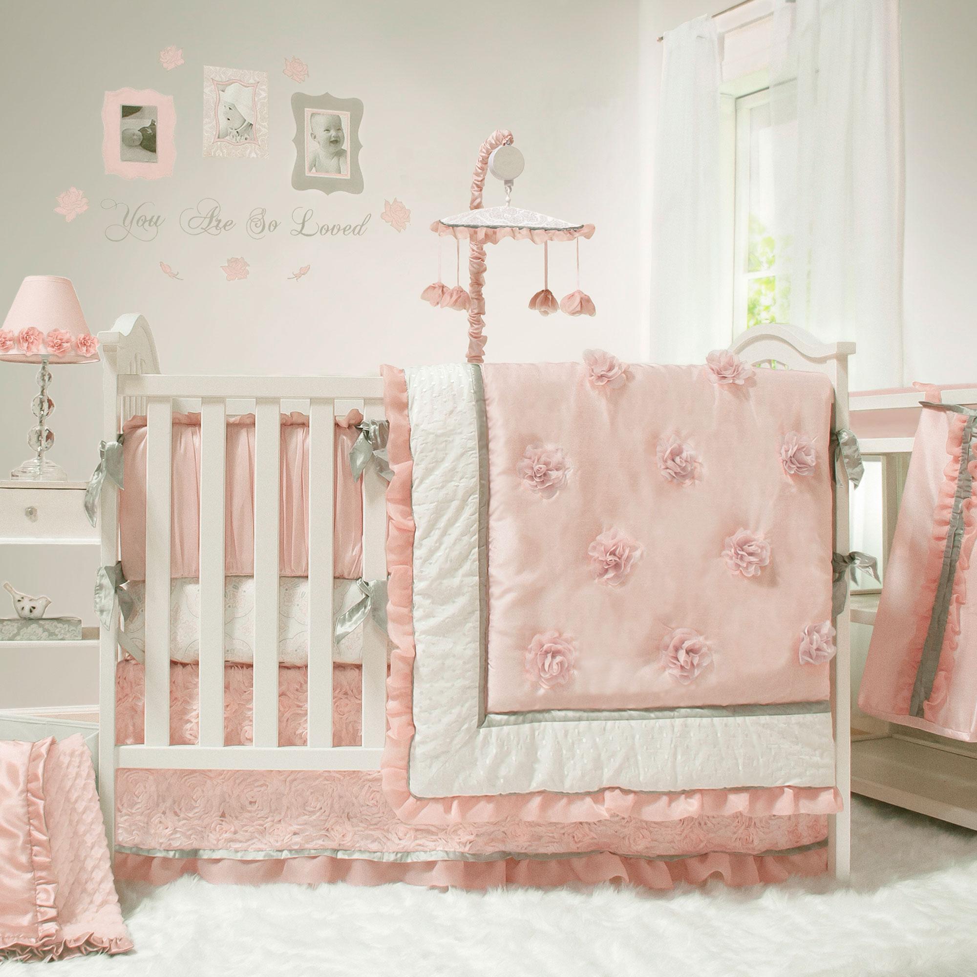 Arianna Pink Amp White Floral 5 Piece Baby Girl Crib Bedding