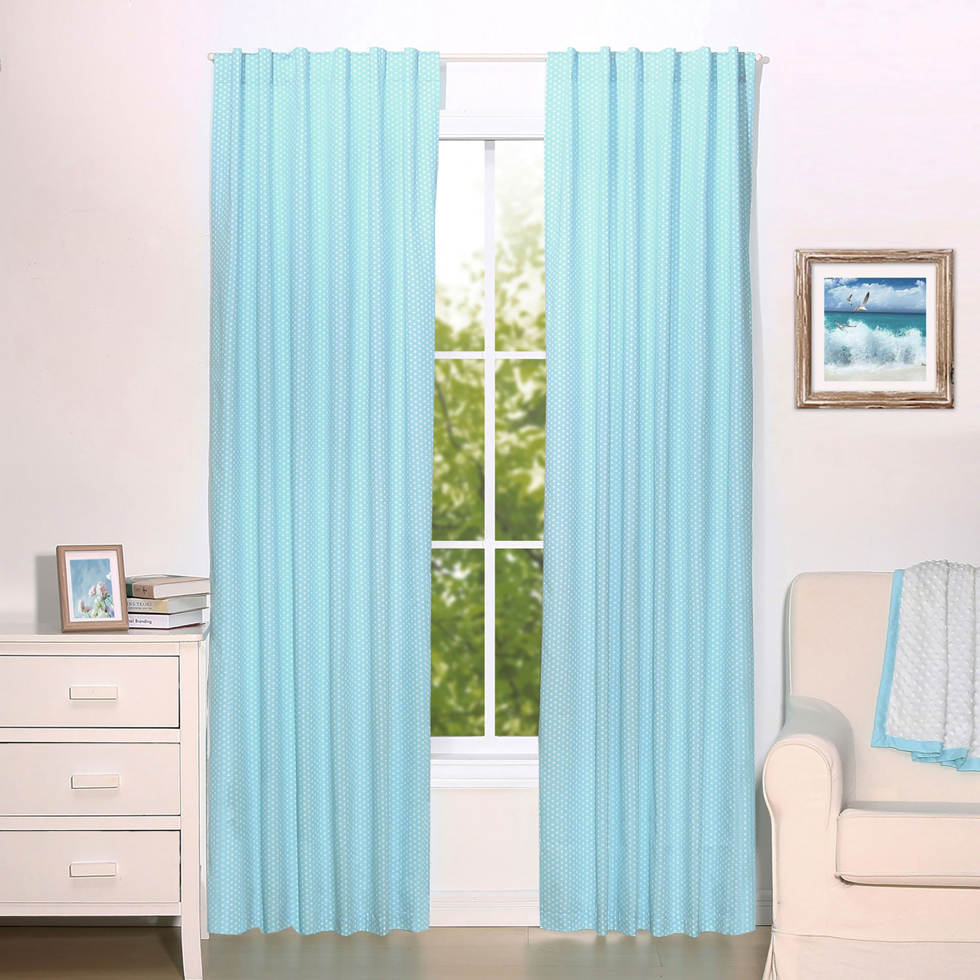 Teal Blue Dot Print Blackout Window Drapery Panels - Two 84 x 42 Inch Panels