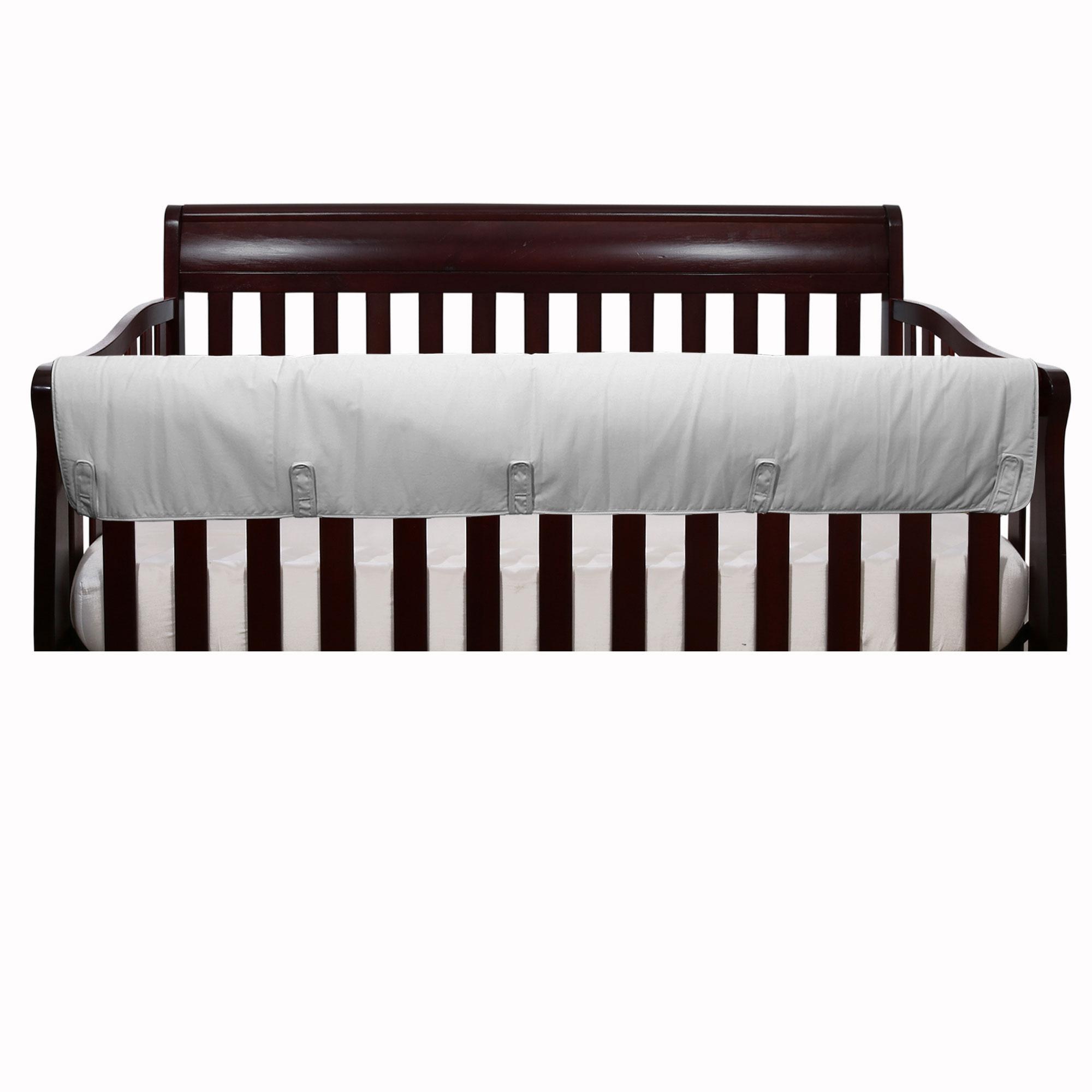Solid Grey Front Crib Rail Teething Guard Padded Protector - 100% Cotton Fabrics