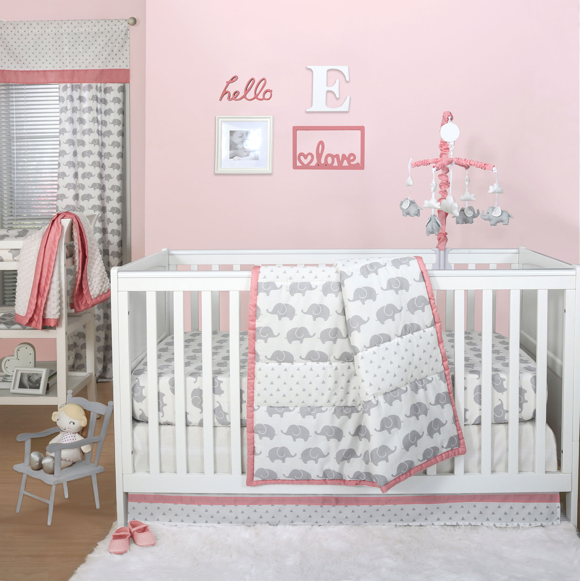 Grey elephant and triangle dot 4 piece baby crib bedding for Baby mobile pink and grey
