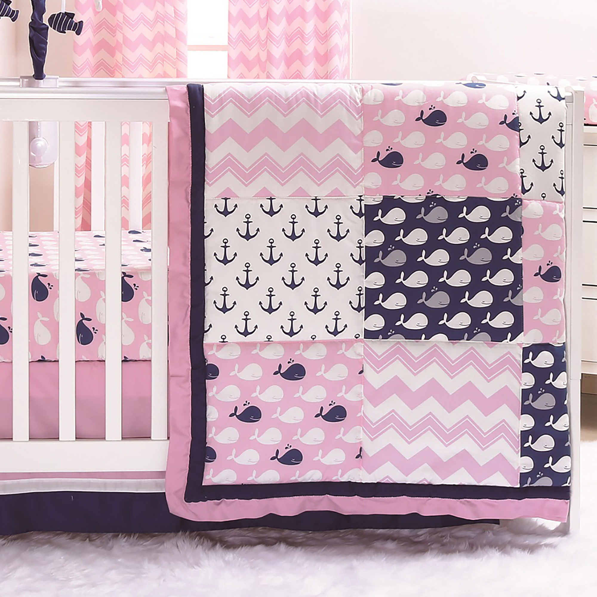 Nautical Infant Bedding: Nautical Whales And Anchors Pink 3 Piece Crib Bedding Set