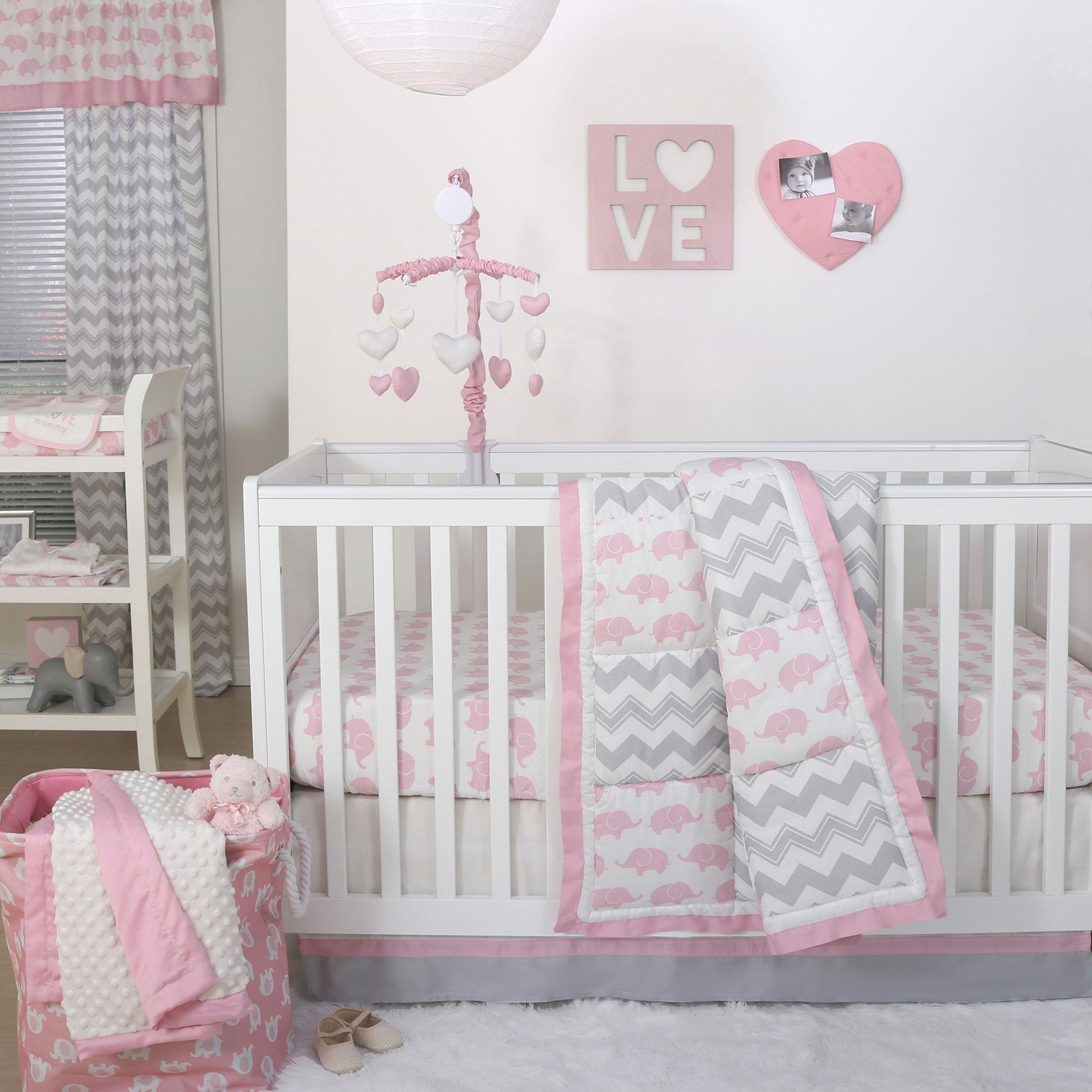 Pink Elephant And Grey Chevron Patchwork 4 Piece Crib