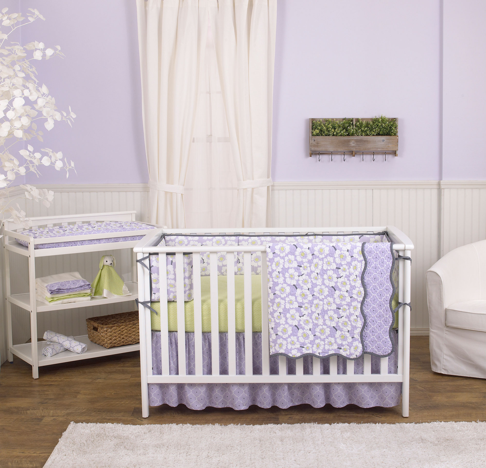 Lavender Purple Poppy Flowers Floral 4 Piece Crib Bedding Set By Balboa Baby For Sale Online Ebay