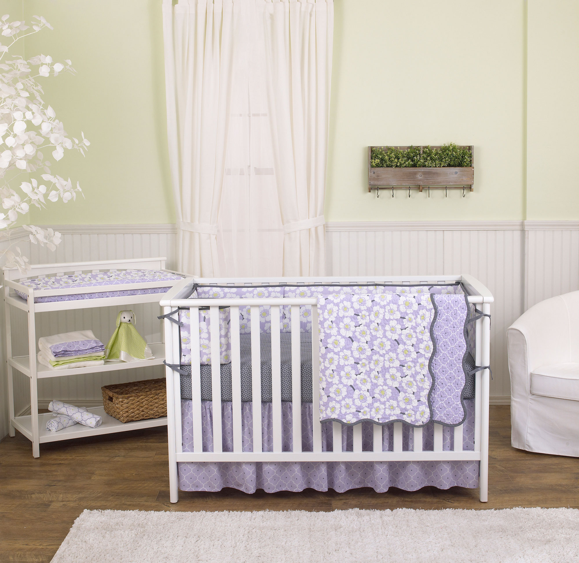 Lavender Purple Poppy Floral 5 Piece Crib Bedding Set With