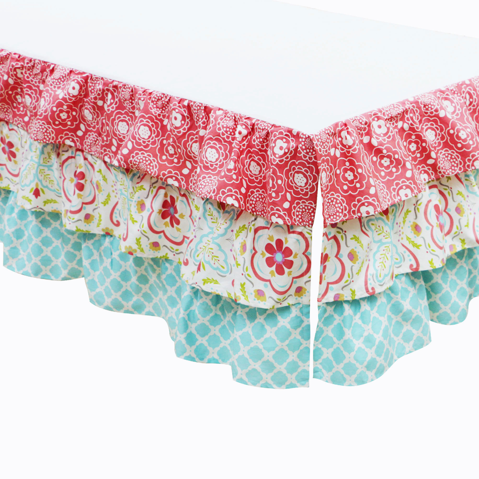 Mila Coral&Blue Floral Patchwork Baby Girl Crib Bedding 4 pc set by