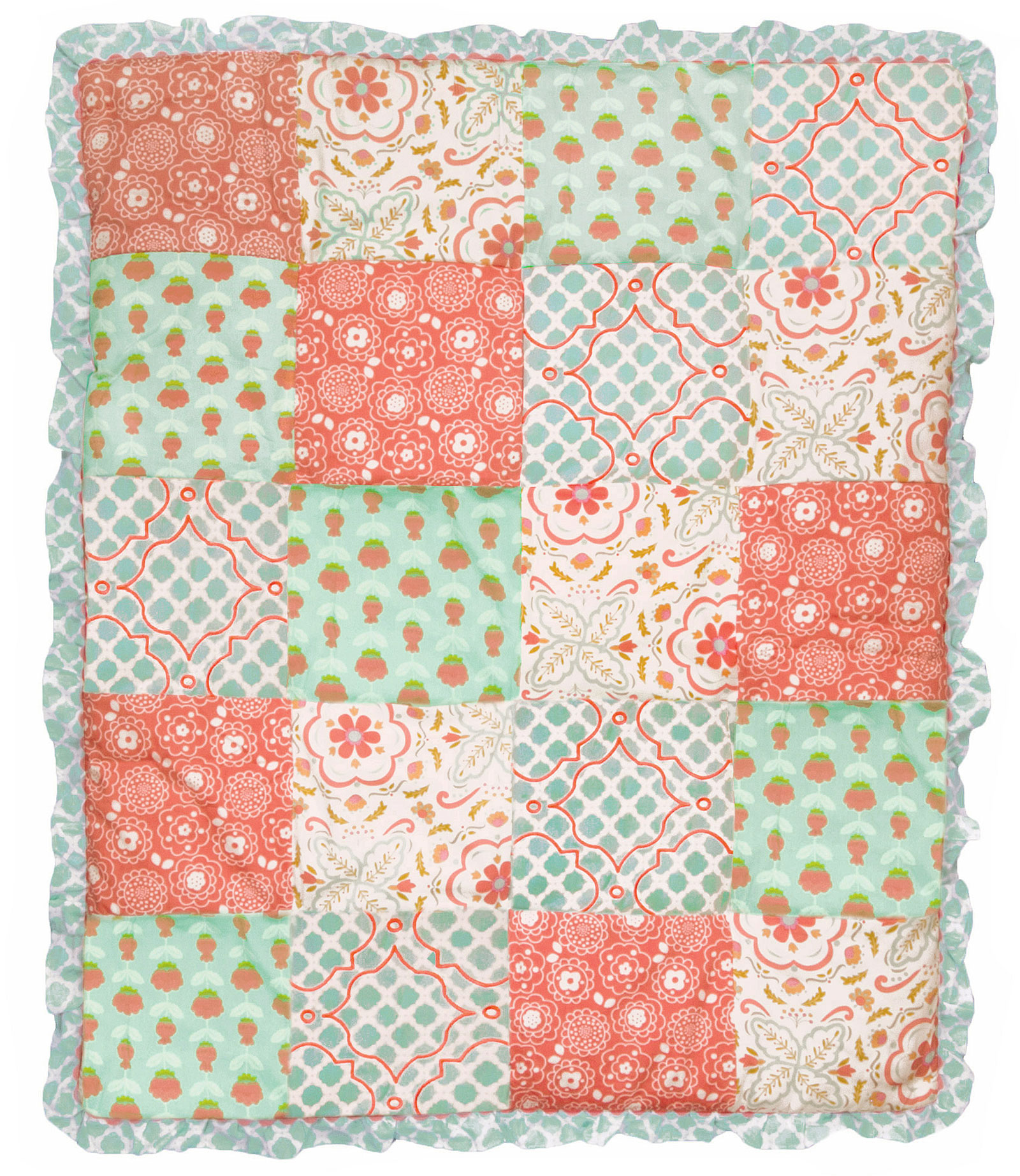 floral coral bed and crib teal girl large carousel baby bedding