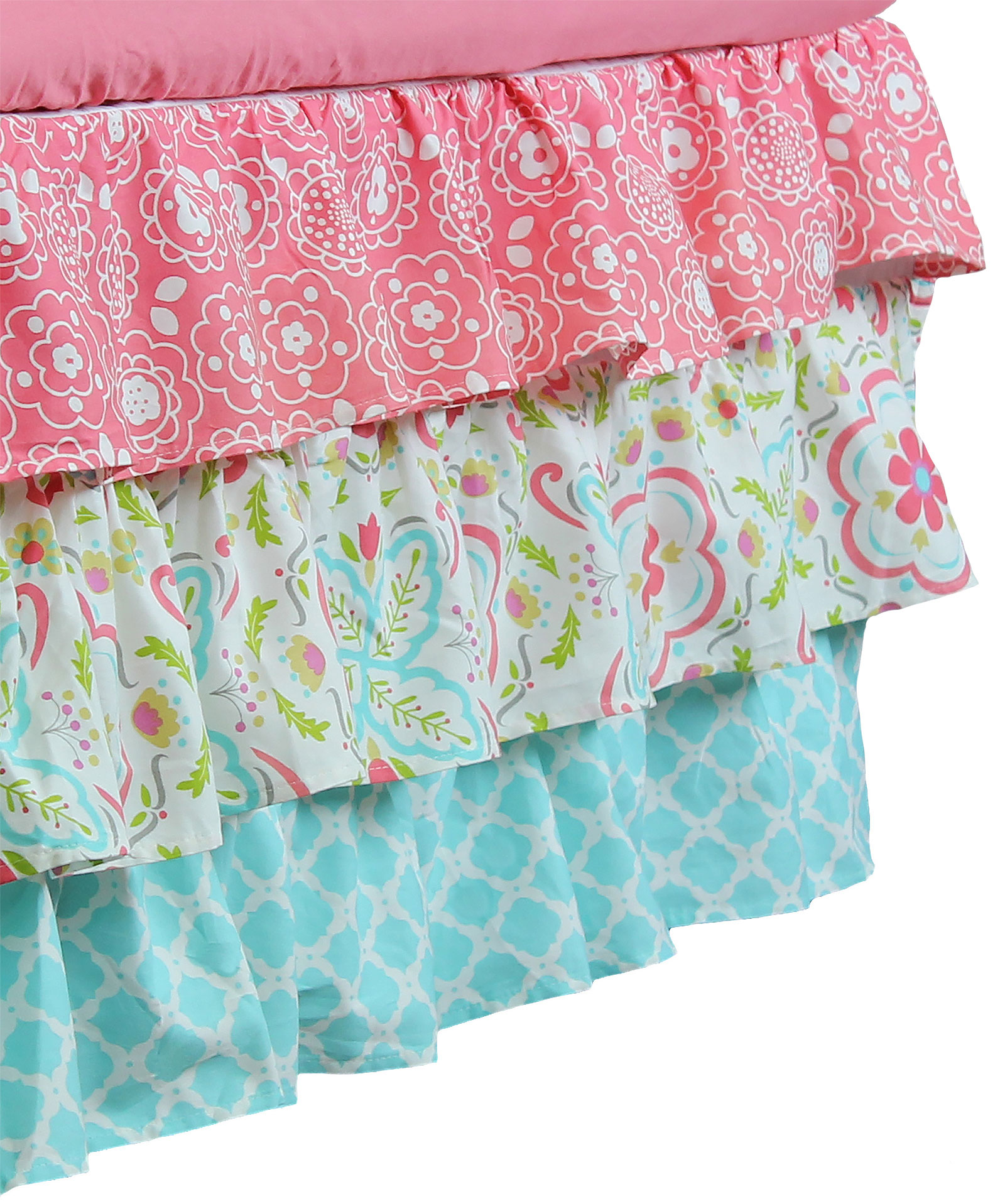 GIA Floral Coral Aqua 4 in 1 Baby Girl Crib Bedding Collection