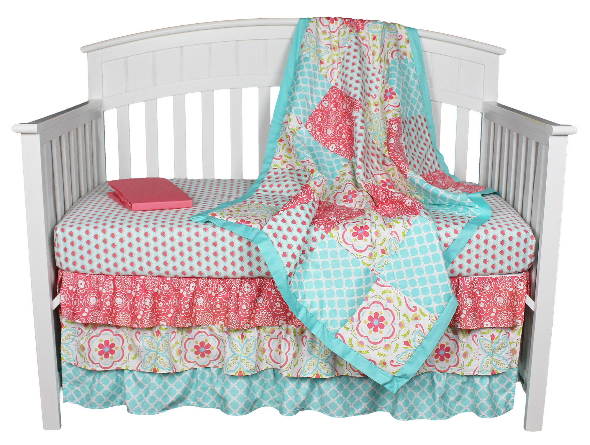 Gia Fl C Aqua 4 In 1 Baby Crib Bedding Collection