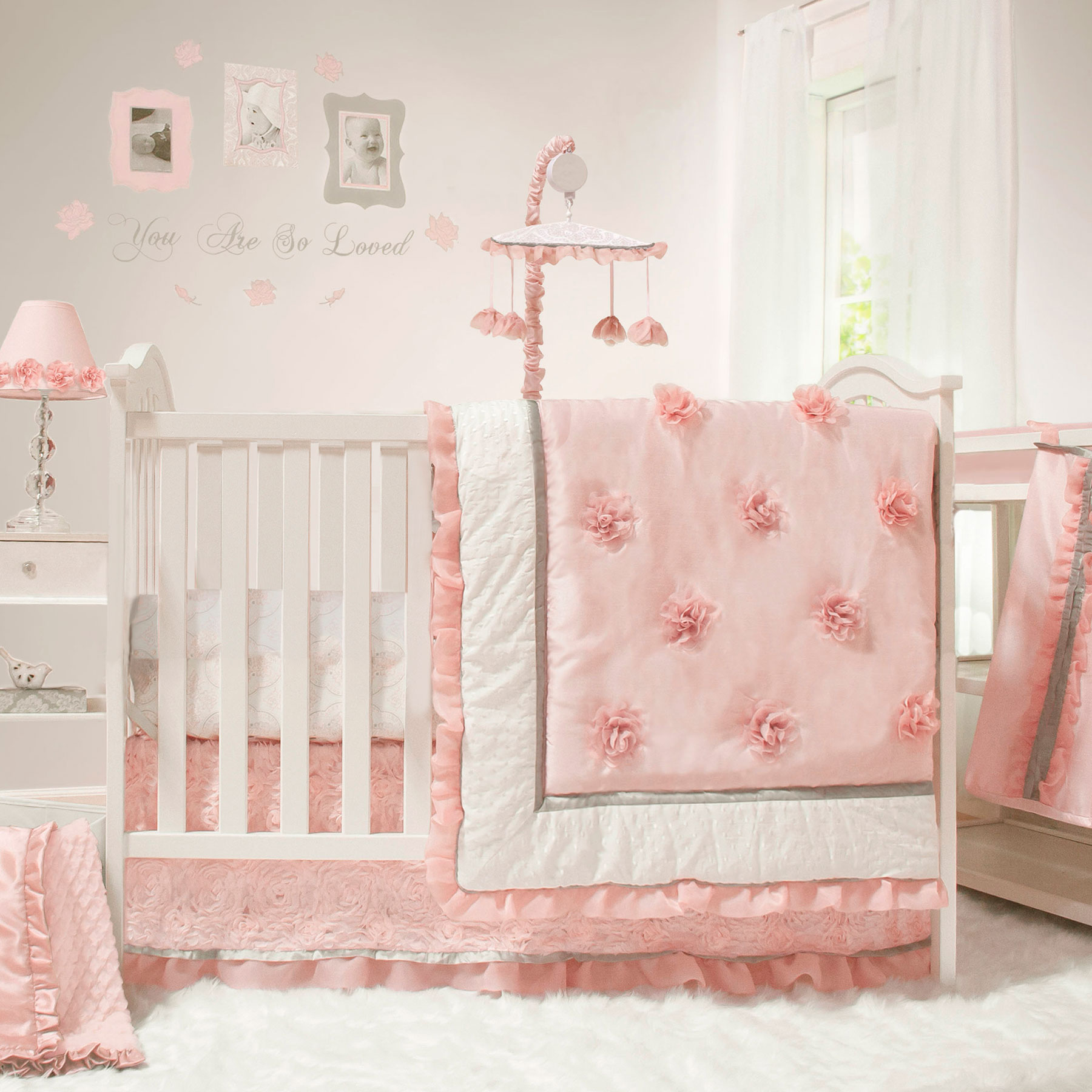 Arianna 4 Piece Girl Crib Bedding Floral Pink And White By
