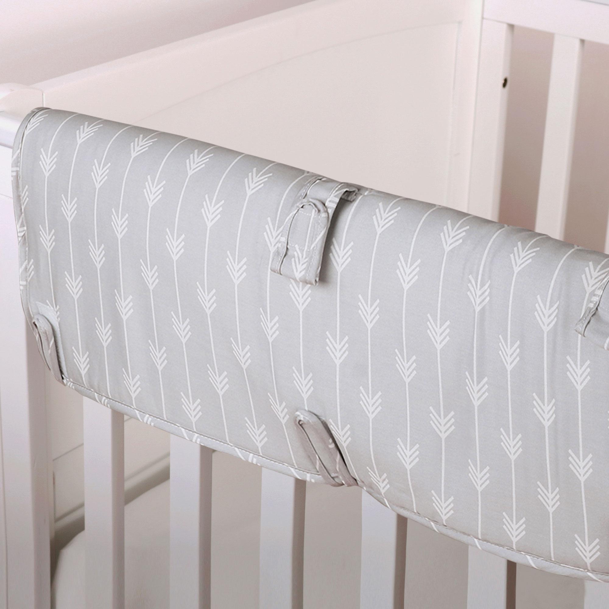 Grey Arrow Print 100% Cotton Padded Crib Rail Teething Guard