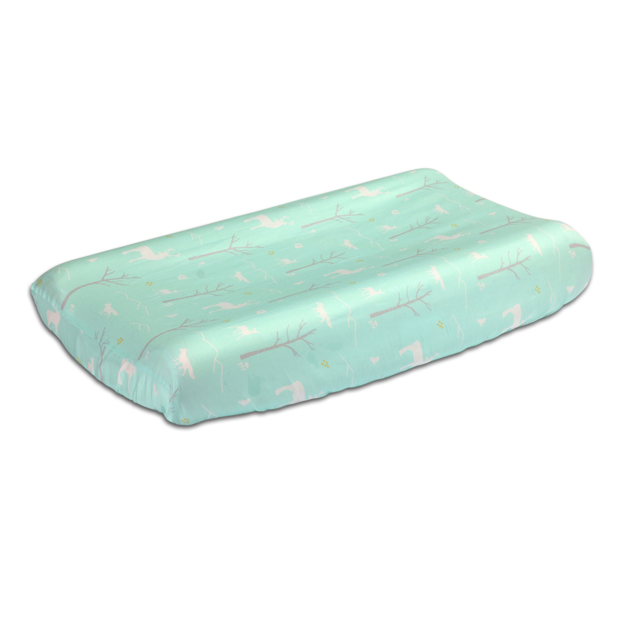 Mint Green Woodland Theme Baby Changing Pad Cover by The Pea