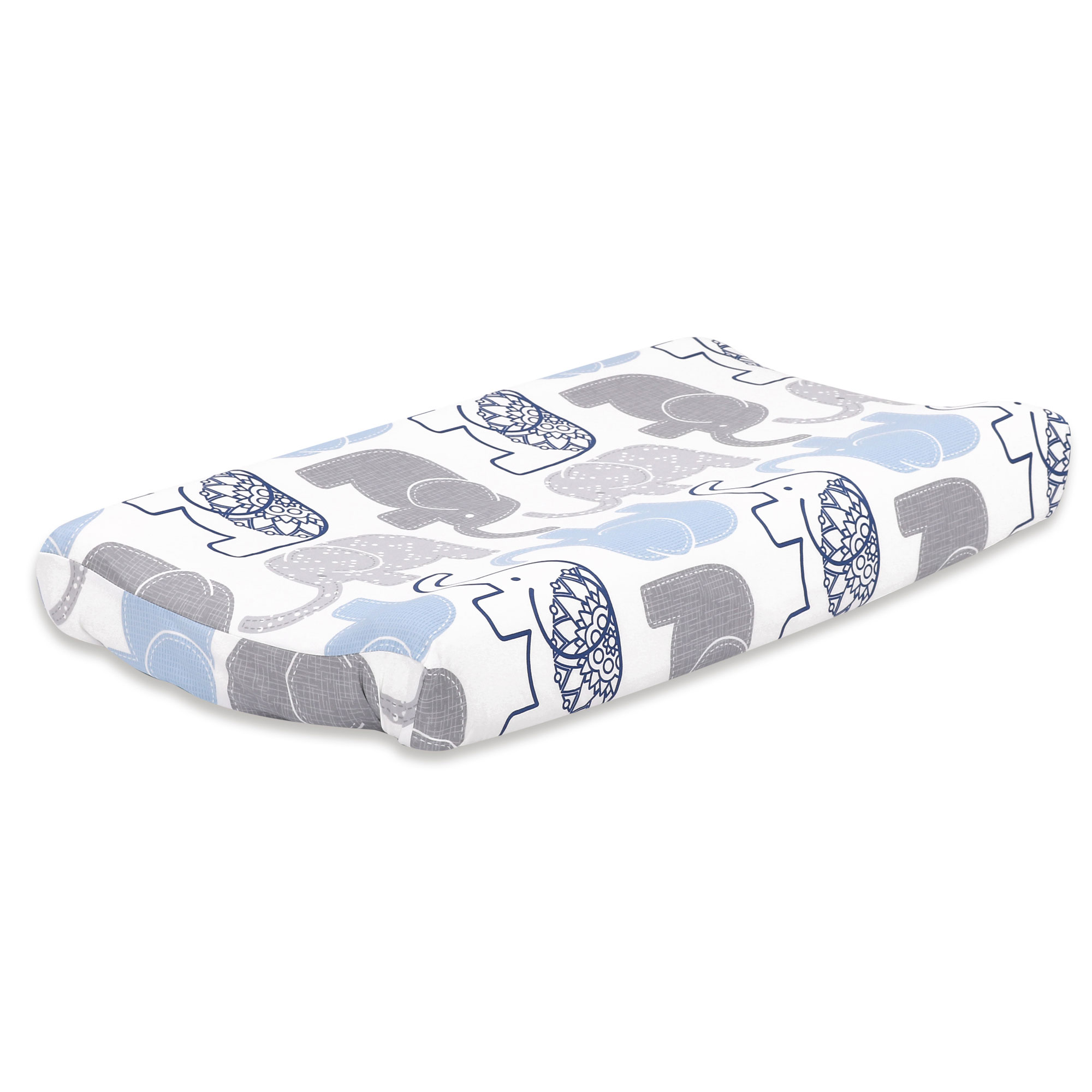 Little Peanut Grey and Blue Elephant Baby Changing Pad Cover