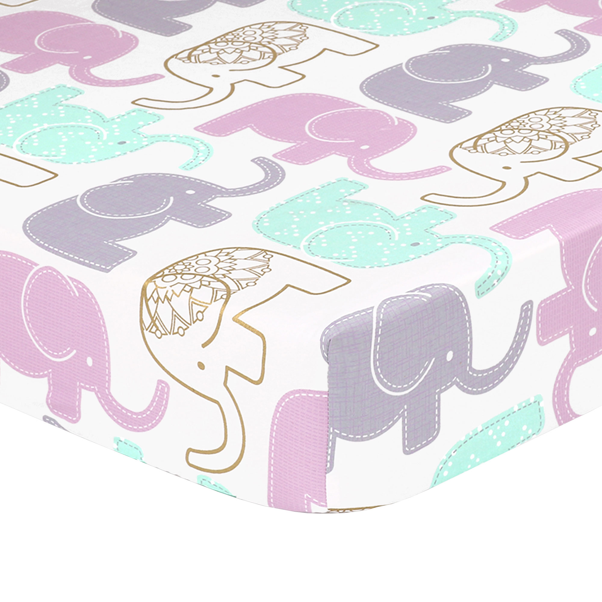 Little Peanut Lilac and Gold Elephant Baby Fitted Crib Sheet