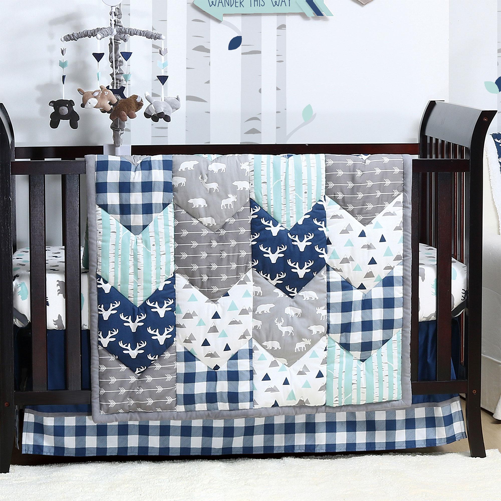 11 Piece Set Woodland Trail Forest Animals Moose Bear Baby Boy Crib Bedding