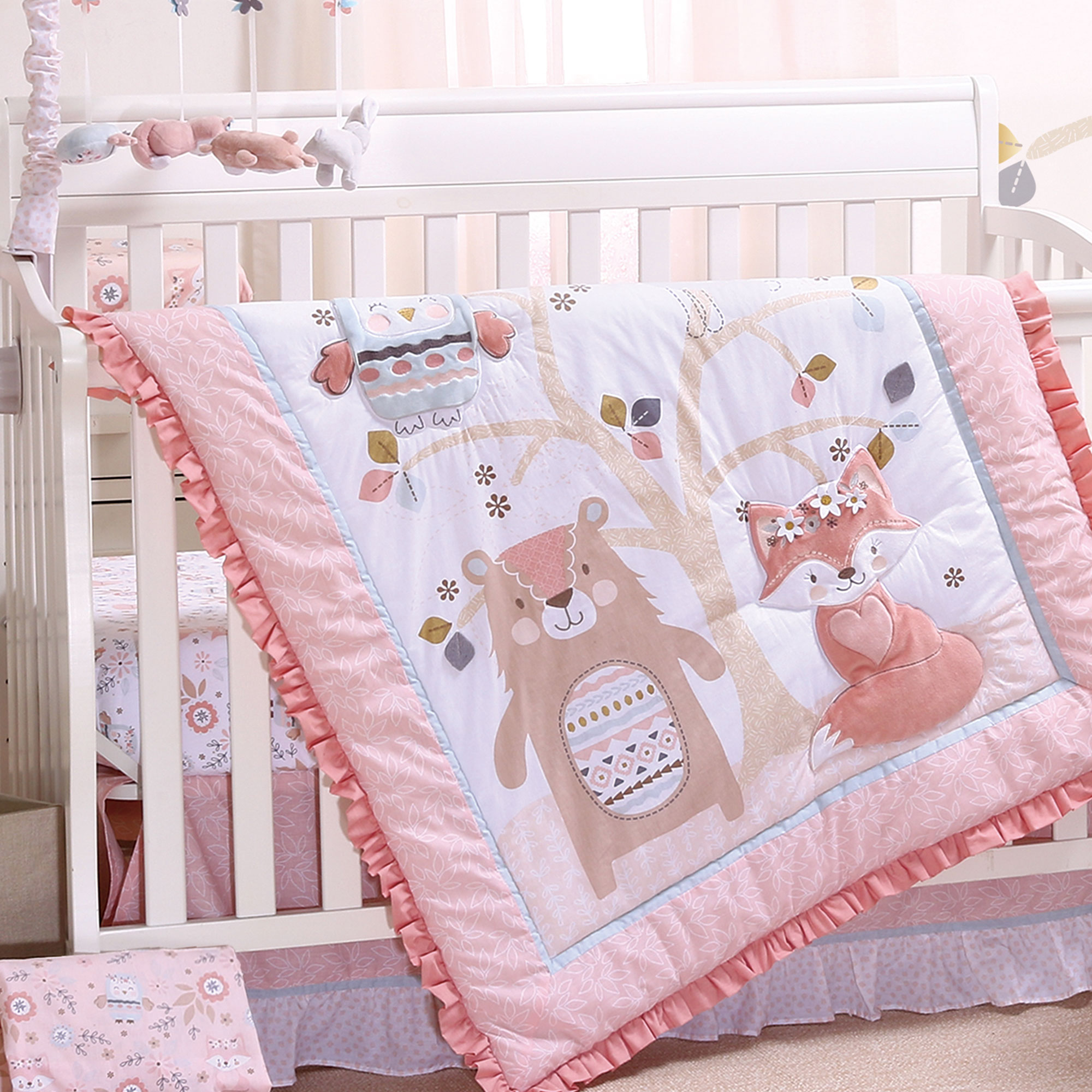ae0fa8e9a7035 Details about Woodland Friends 4 Piece Forest Animal Girl Baby Crib Bedding  Set - Rose Pink