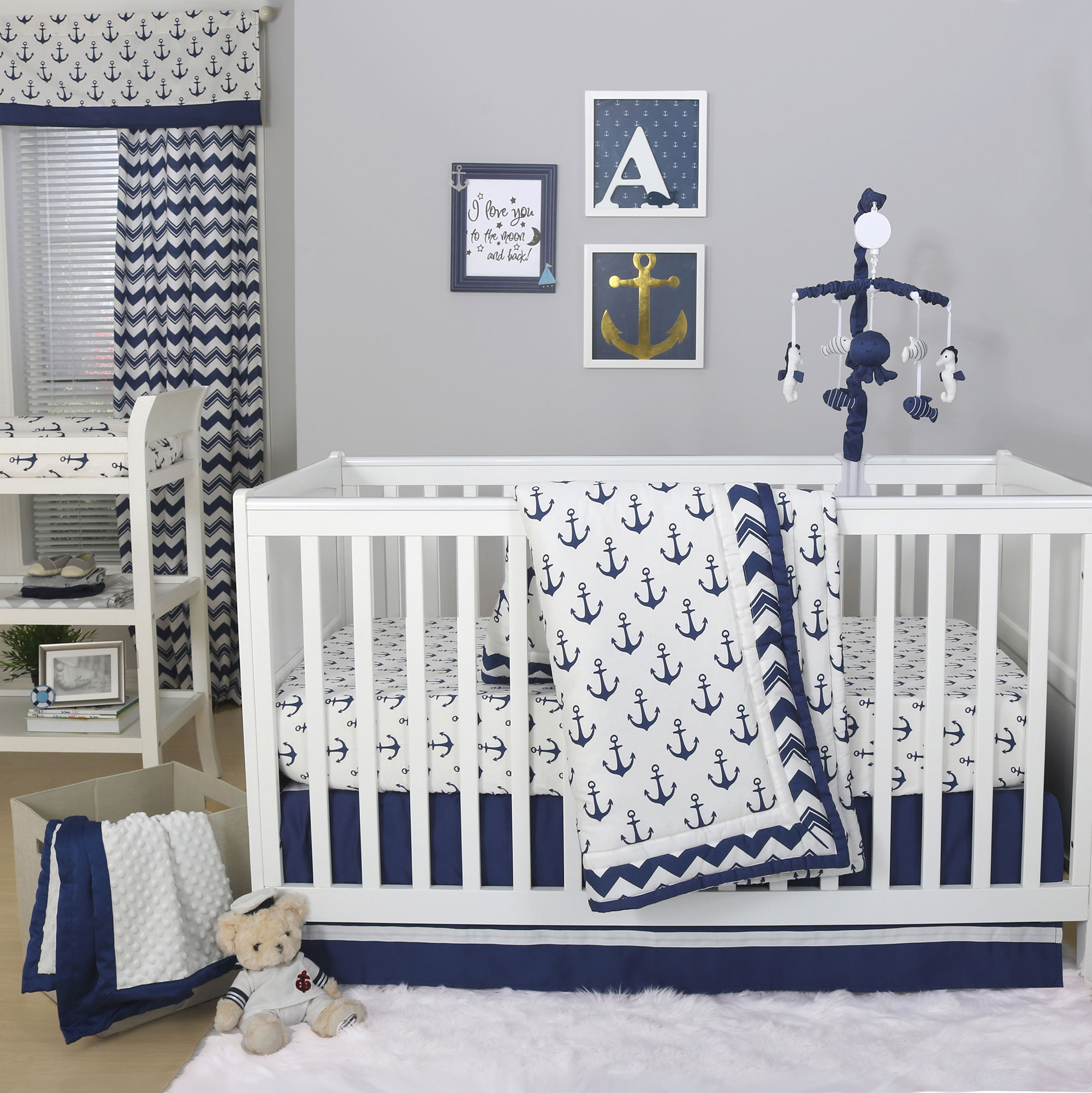 Anchor Nautical 3 Piece Baby Crib Bedding Set In Navy Blue