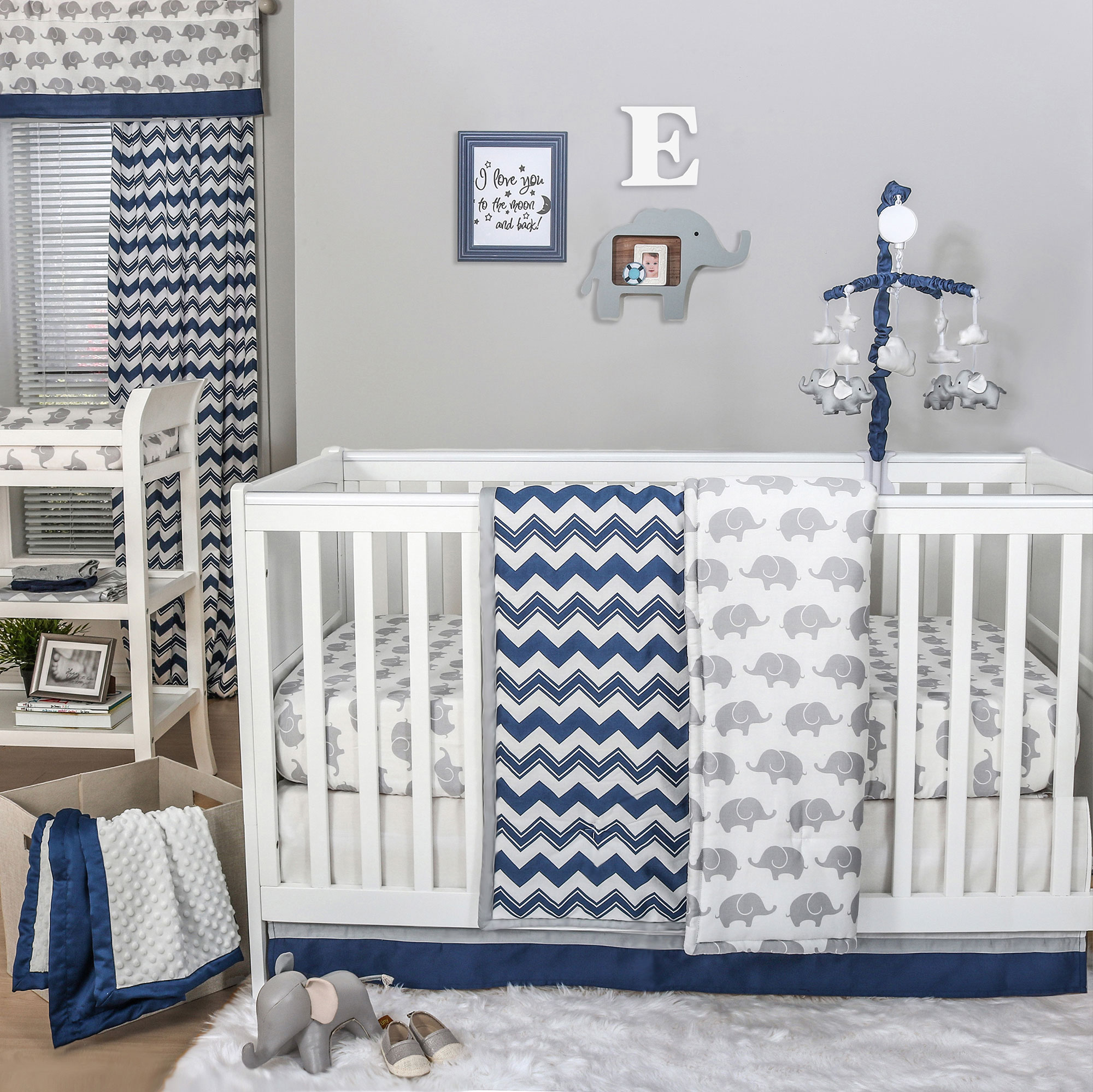 Elephant Baby Boy Crib Bedding Part - 20: Eli Navy Chevron-Grey Elephant Baby Boy Crib Bedding - 20 Piece Sleep Set