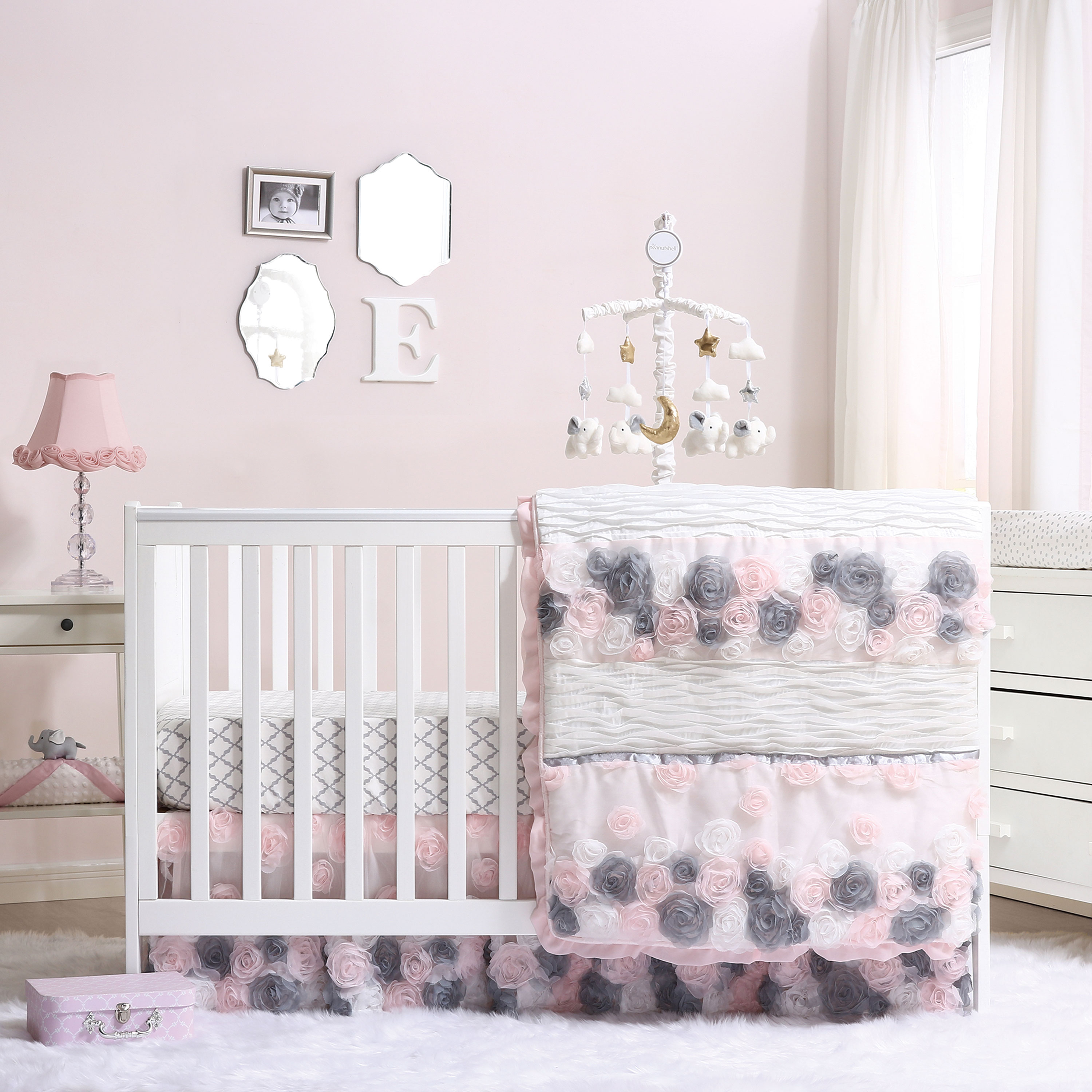 530840dd2 Details about Colette Pink/Grey Girl Floral Baby Crib Bedding-20-Piece by  The Peanut Shell