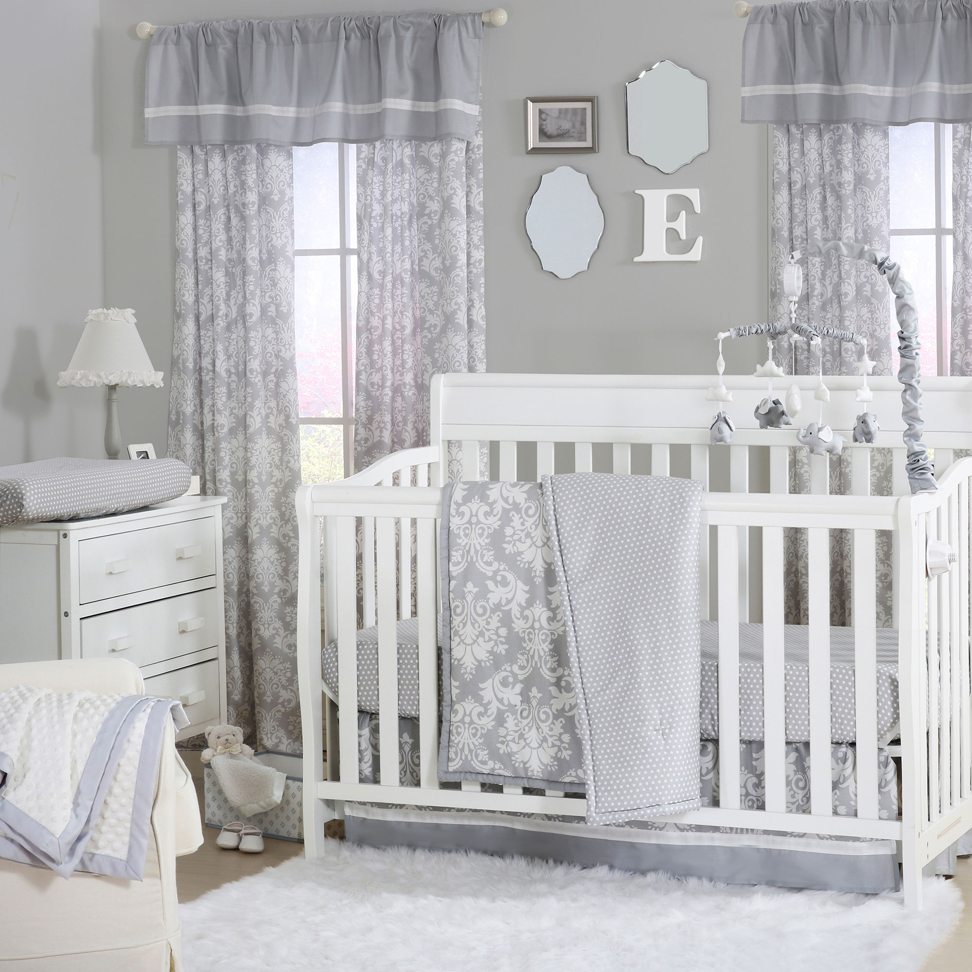 Grey Damask and Dot Print 3 Piece Baby Crib Bedding Set by T