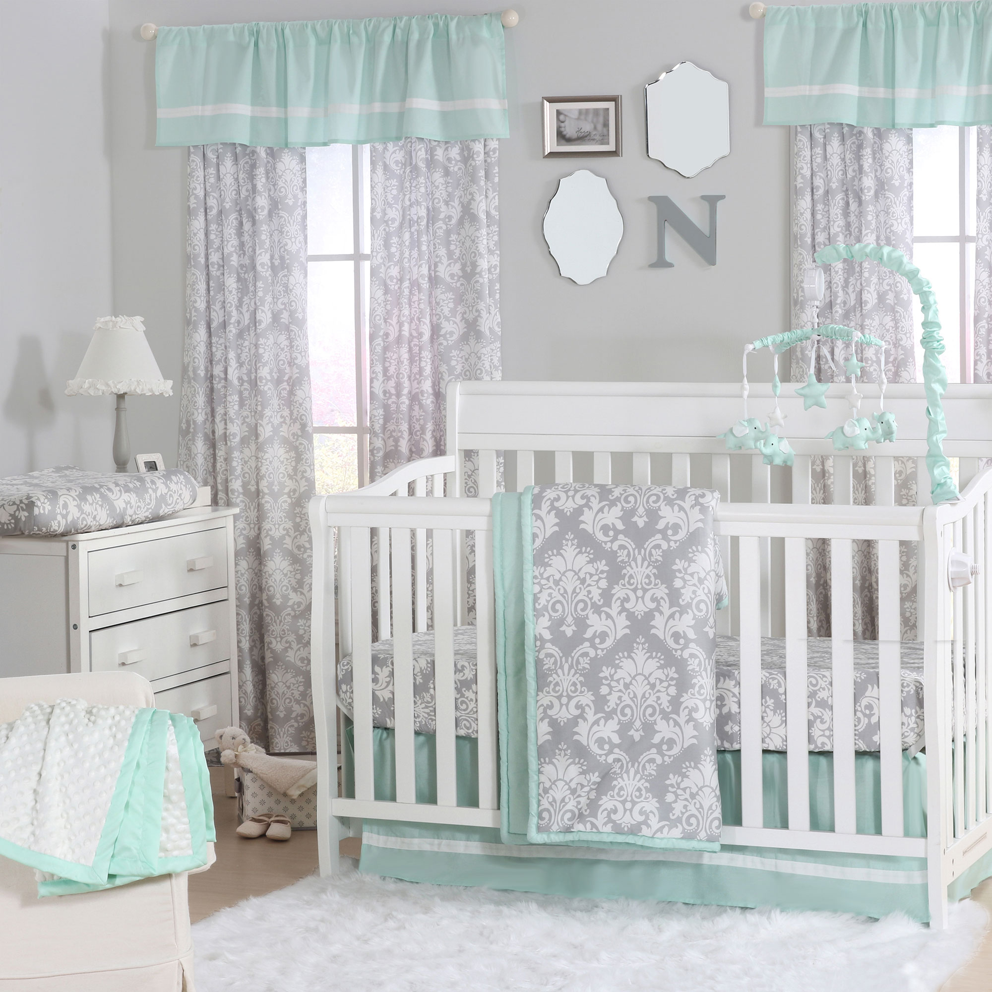 Grey Damask And Mint Green 3 Piece Baby Crib Bedding Set