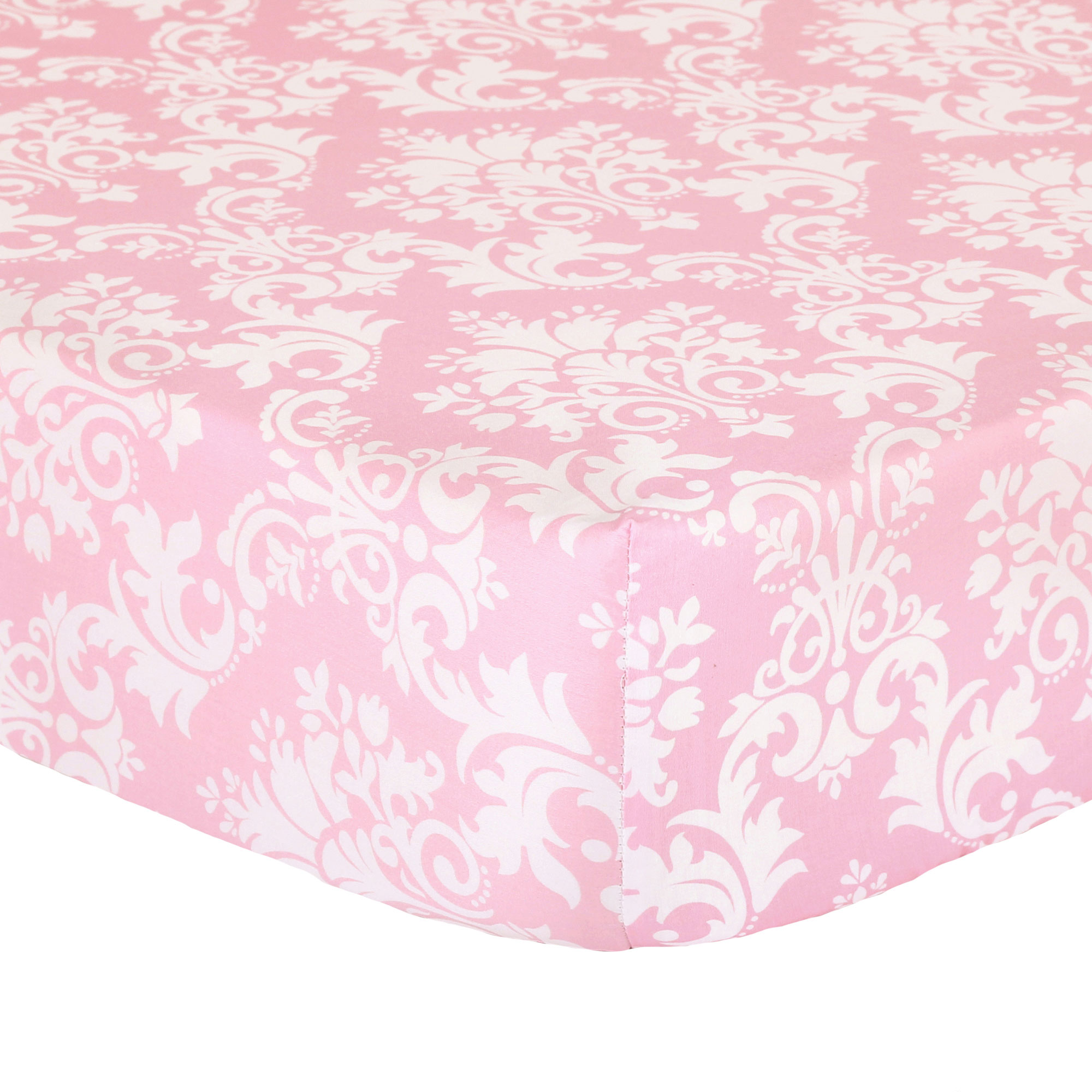 Pink And Grey Damask Baby Bedding