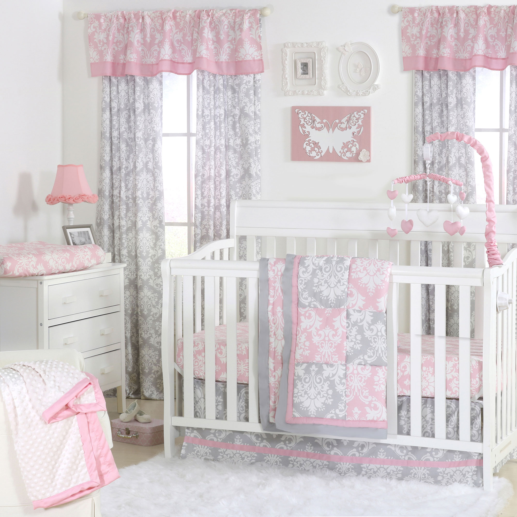 Pink and grey damask patchwork 4 piece baby crib bedding for Baby mobile pink and grey