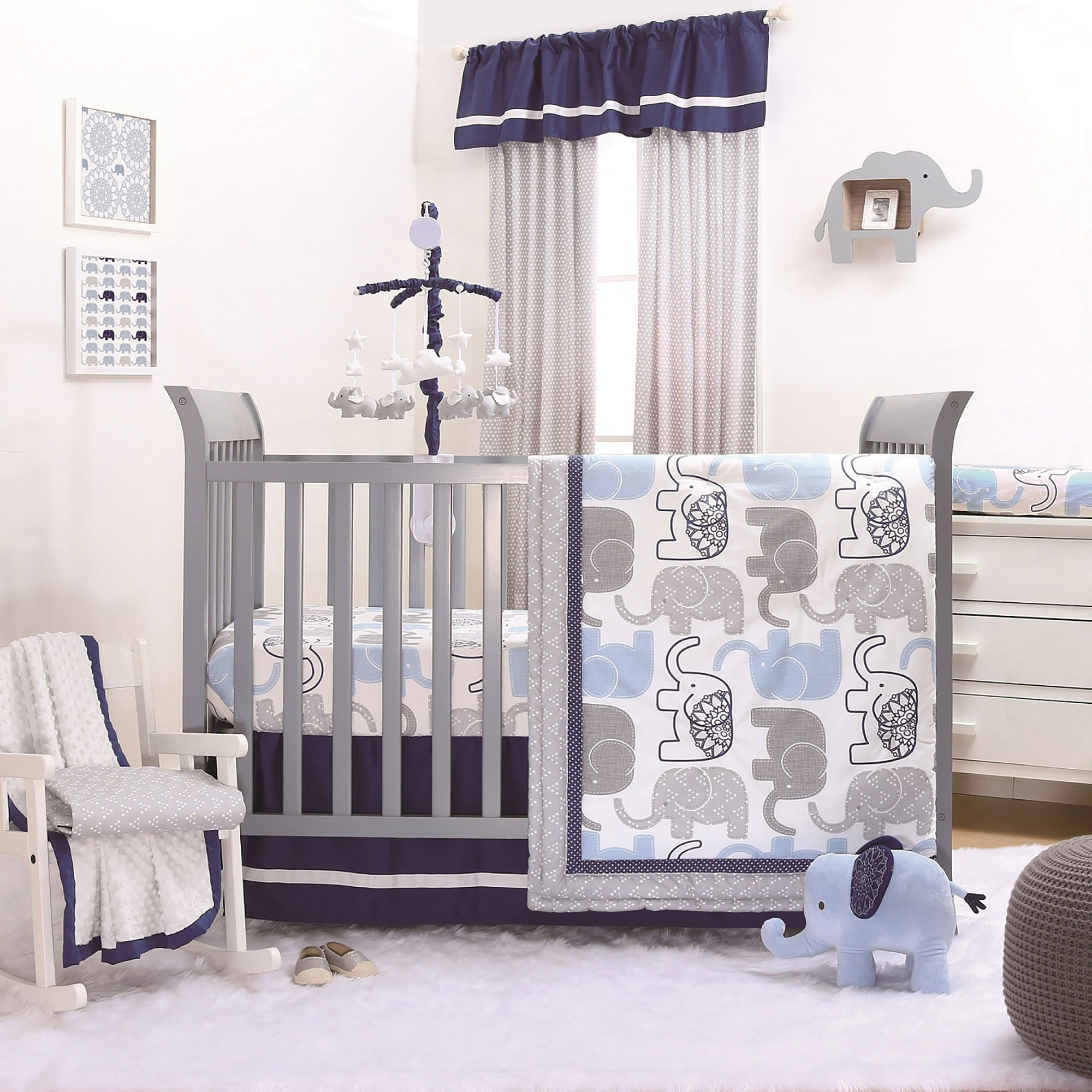 prodigious Elephant Baby Boy Crib Bedding Part - 11: Little Peanut Blue Grey Elephant Baby Boy Crib Bedding - 20 Piece Sleep Set
