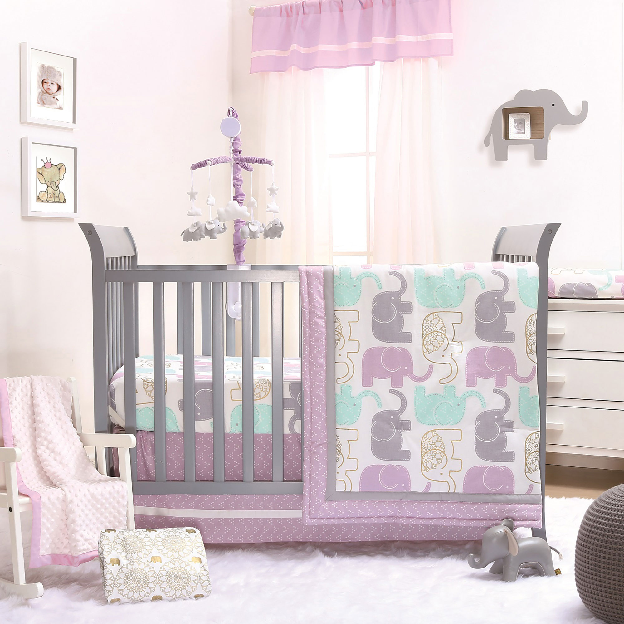 little peanut lilac gold elephant baby girl crib bedding 11 piece sleep set 841297125850 ebay. Black Bedroom Furniture Sets. Home Design Ideas