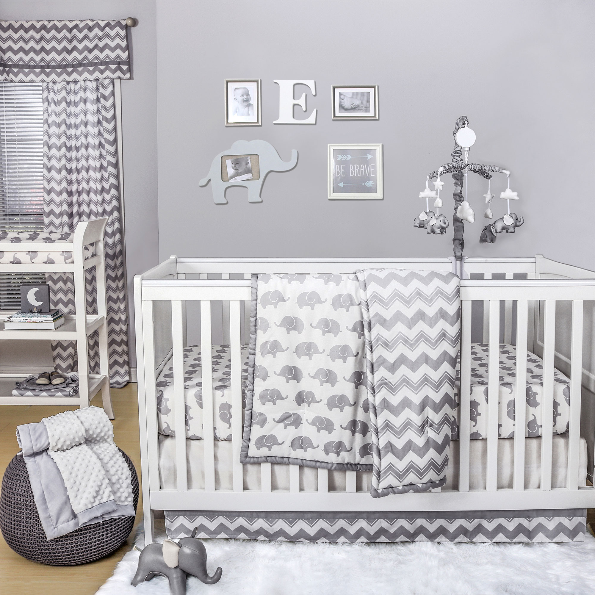 Details About Ellie Chevron Grey White Elephant Uni Baby Crib Bedding 11 Piece Sleep Set