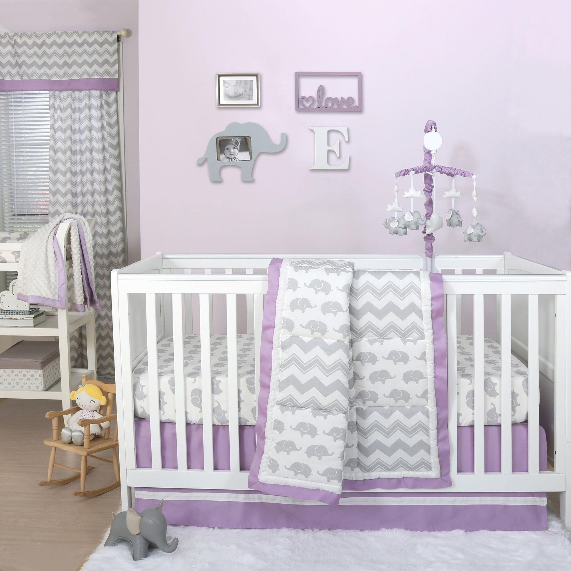 Beau Details About Grey Elephant And Chevron Patchwork 3 Piece Crib Bedding Set  With Purple Trim