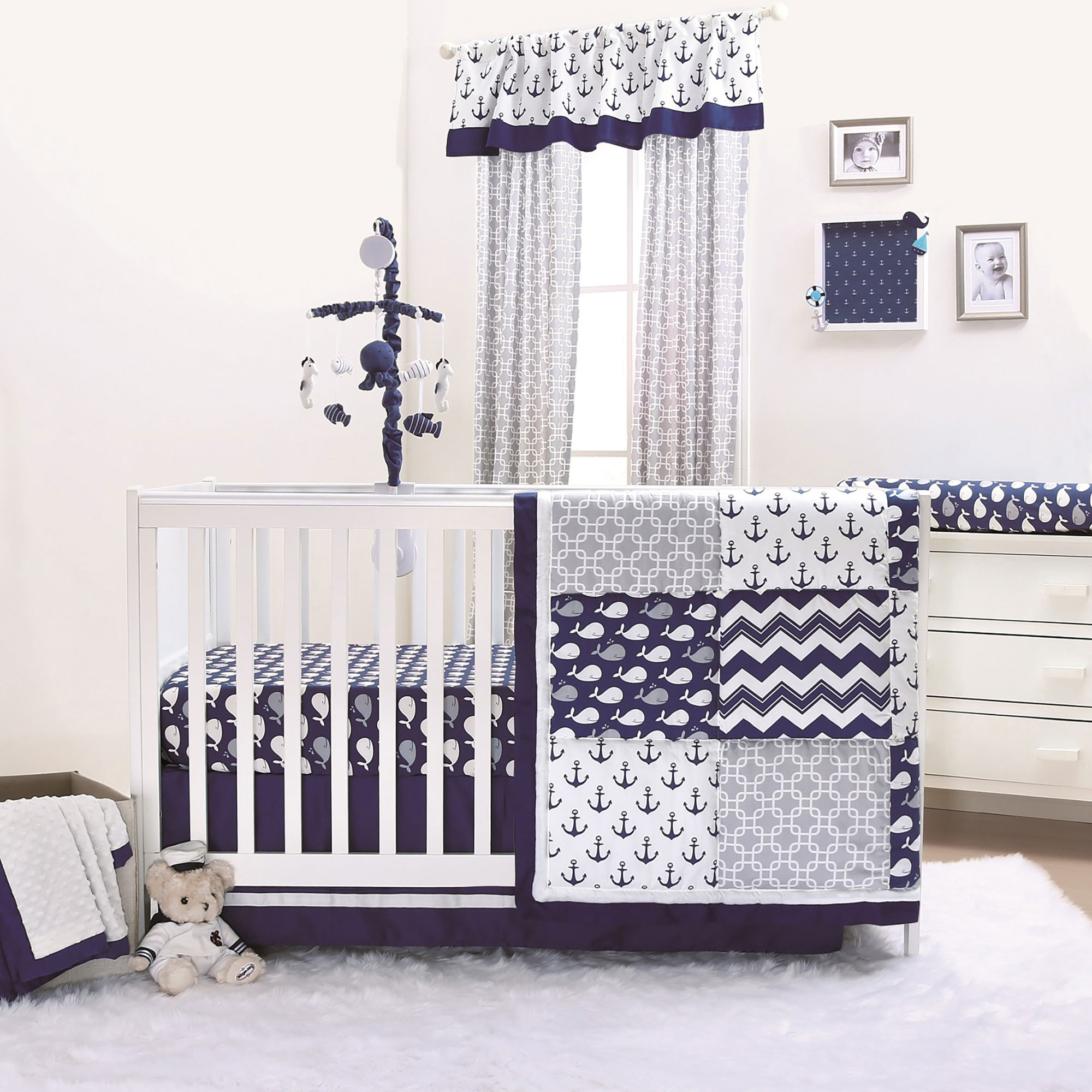 Details About Navy Whale Nautical Chevron Zig Zag Anchors Baby Boy Crib Bedding 20 Piece Set