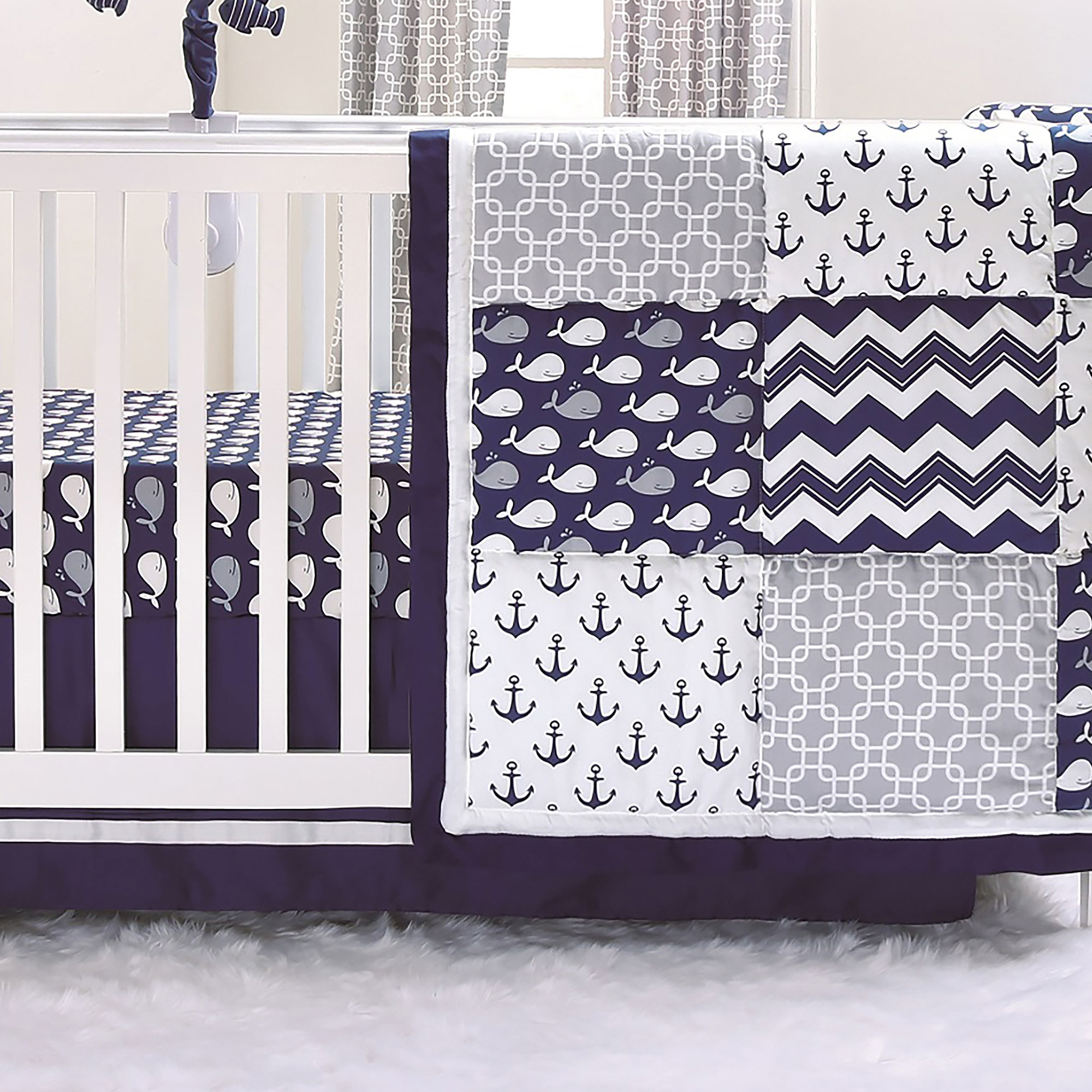 bedding baby by in navy crib huge shell loading cribs itm anchor piece the peanut nautical is image set pink sheets