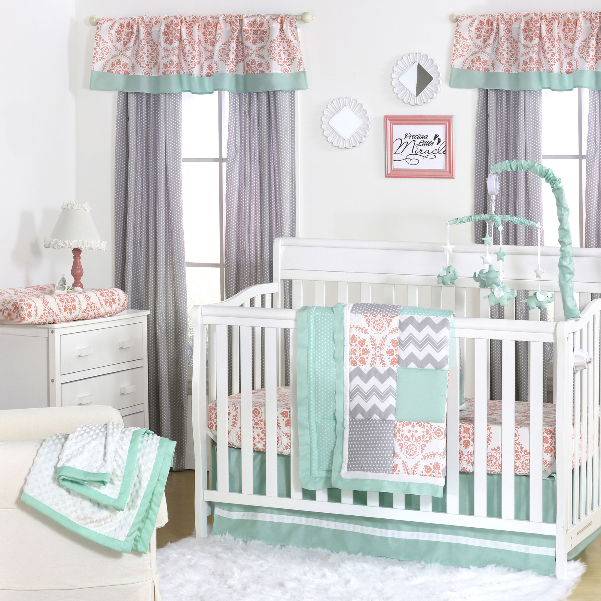 Details About Mint Coral And Grey Patchwork 3 Piece Baby Crib Bedding Set By The Peanut Shell
