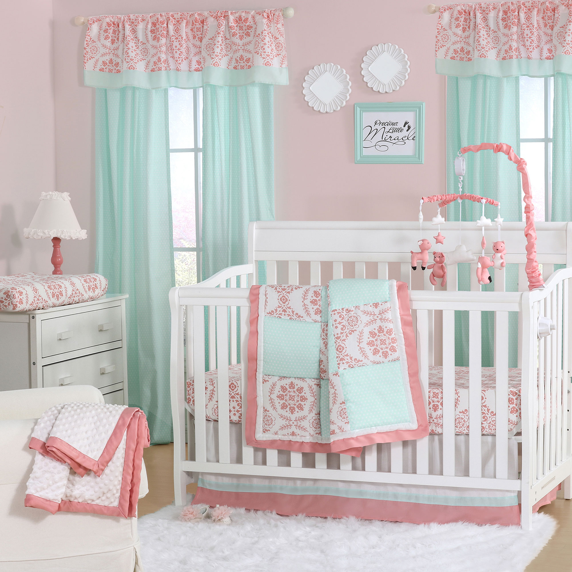 Mint Green And Coral Patchwork 3 Piece Baby Crib Bedding