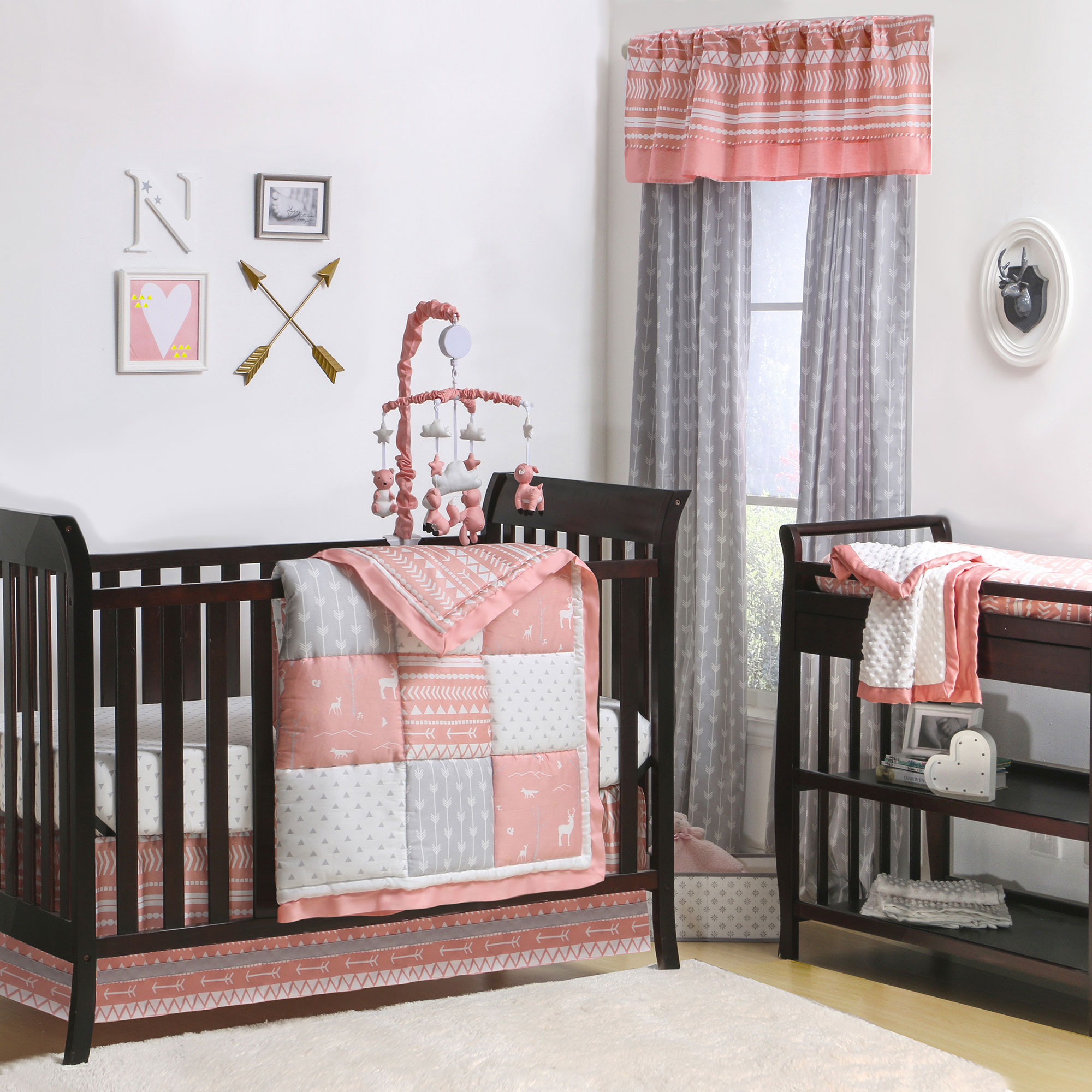 of charming trend coral baby crib sheets and cribs peach with colored bedding