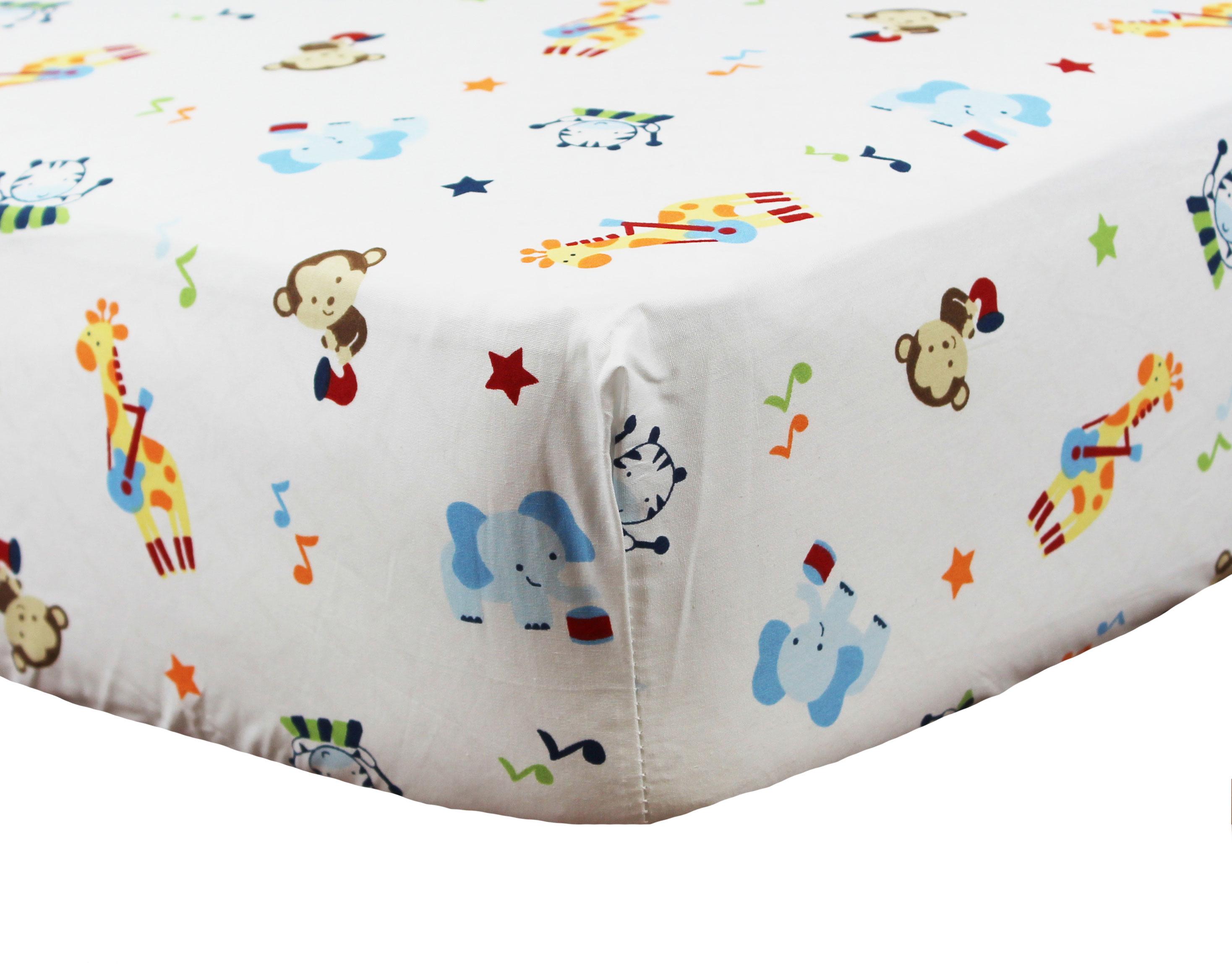 tune time crib fitted sheet toddler monkey giraffe ellephant